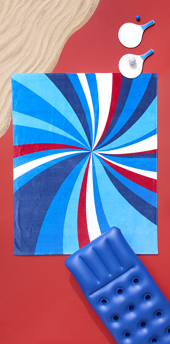 Overhead Red White and Blue summer beach towel for Target